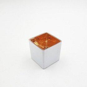 photophore carré blanc et or 6cmx6cm