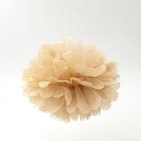 Pompon Fleur Papier de Soie taupe 20cm