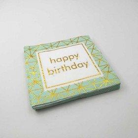 Serviette papier happy birthday vert d'eau (paquet de 20)
