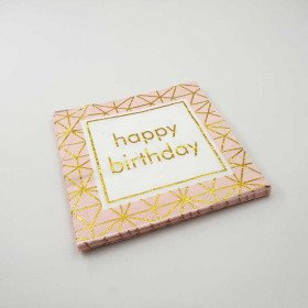Serviette papier happy birthday pêche (paquet de 20)