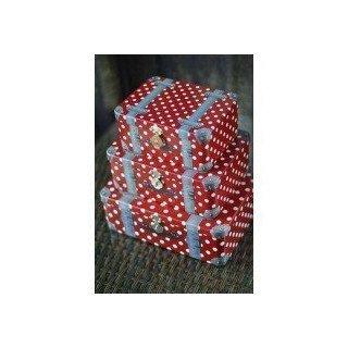 Set 3 boites valise à petits pois rouges et blancs