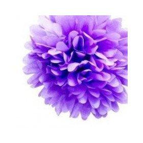 Pompons Fleurs Papier de Soie parme 20cm lot de 4