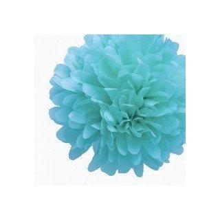 Pompons Fleurs Papier de Soie bleu turquoise 20cm lot de 4