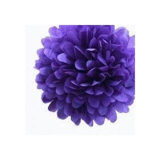 Pompons Fleurs Papier de Soie violet 20cm lot de 4
