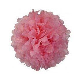 Pompon Fleur Papier de Soie rose 35cm