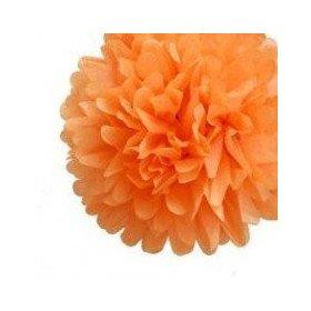 Pompon Fleur Papier de Soie orange 35cm
