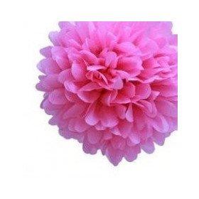 Pompon Fleur Papier de Soie fushia 35cm