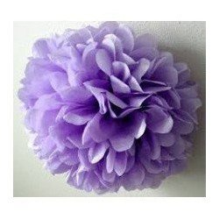 Pompon Fleur Papier de Soie parme 35cm