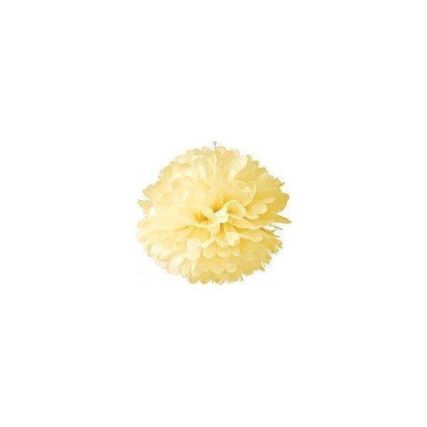 Pompon Fleur Papier de Soie ivoire 35cm