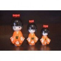 Kokeshi  orange (lot de 3)