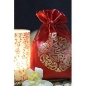 """Pochon dragée mariage rouge signe chinois""""Bonheur"""""""
