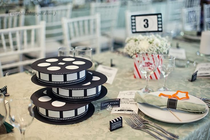 Mariage theme cinema hollywoodien archives blog detendance boutik vente d 39 articles de - Centre de table cinema mariage ...