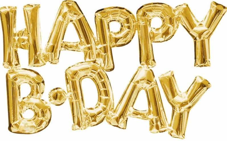 ballon lettre en or - décoration anniversaire