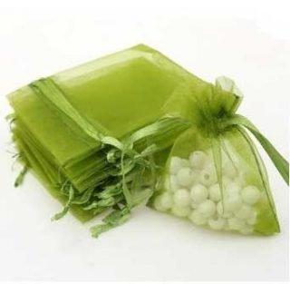 pochette à dragées organza vert