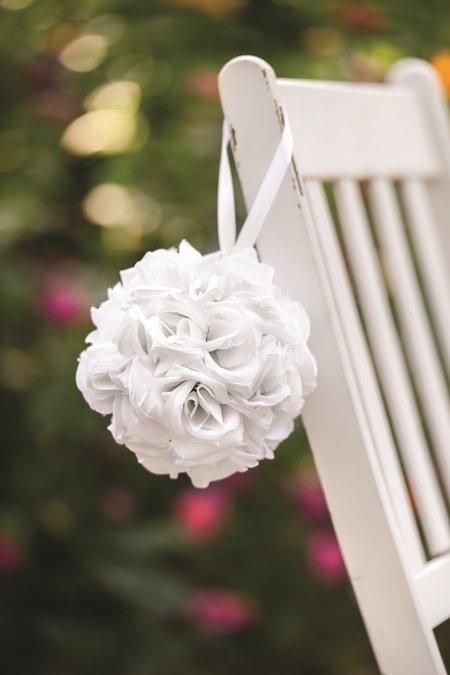 boule fleur mariage blanc
