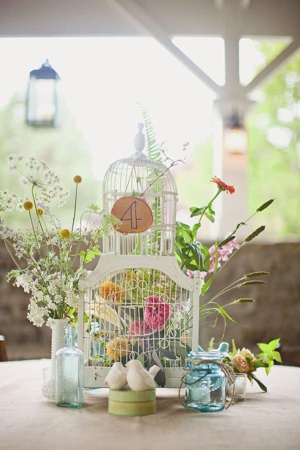 Mariage theme oiseau nature tendance boutik - Plan de table cage oiseau ...