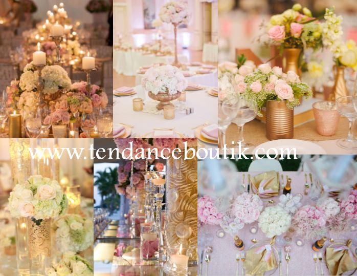 Mariage rose et or centre de table mariage et decoration de mariage tendance boutik - Bougeoir centre de table mariage ...