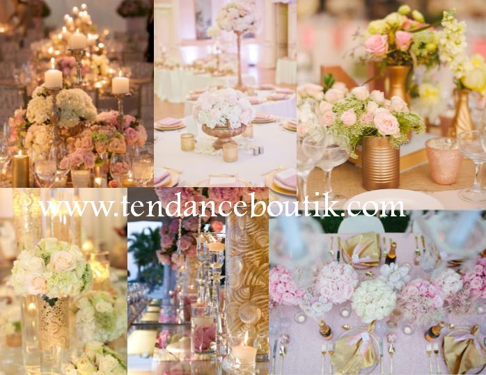 decoration mariage rose et or