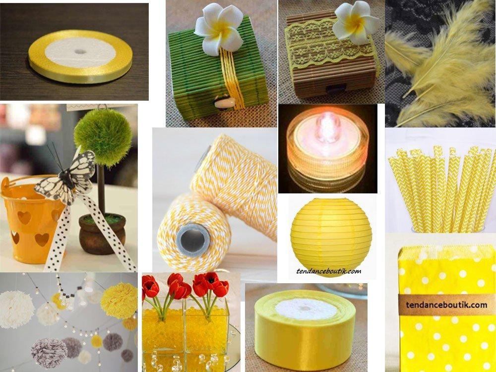 décoration pour tout vos événements de mariage, baptême, de couleur jaune et gris