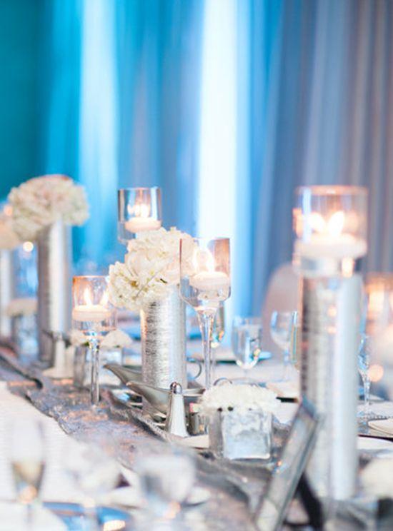 Idées de décoration de table mariage gris et argent: