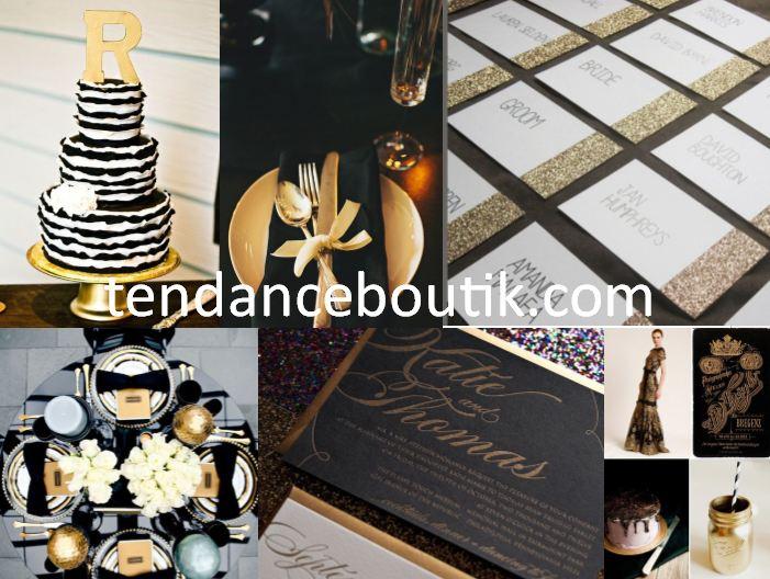 Mariage noir et or centre de table et id e d coration mariage tendance boutik Decoration noir or luxe classe
