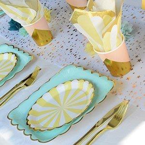 decoration anniversaire vert d'eau menthe